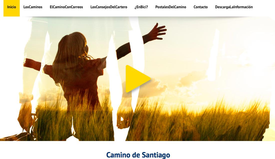 Capture d'écran du nouveau site internet de la Poste espagnole dédié aux pèlerins