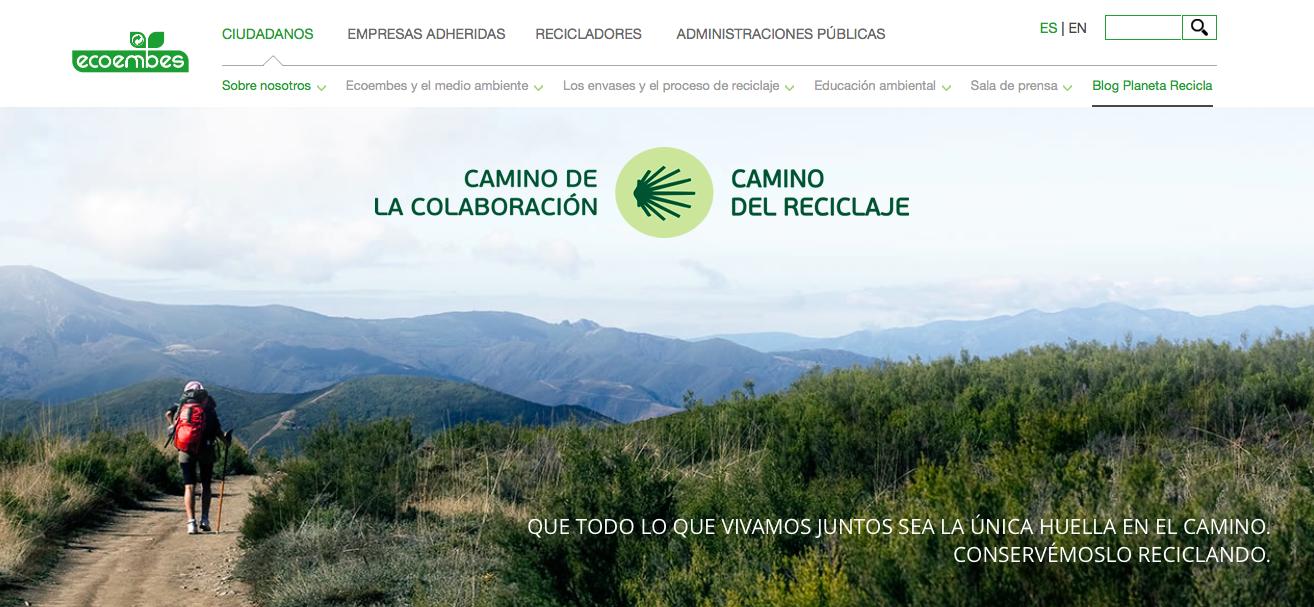 Capture d'écran du site internet de Ecoembes