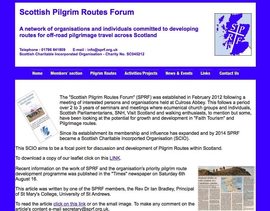 Capture d'écran du site internet du Scottish Pilgrim Routes Forum